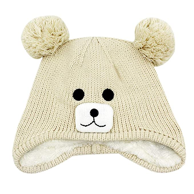 9df07657e41 Aimeio Kids Toddlers Winter Ear Flap Beanie Hat Cute Bear Warm Pom Pom Knit  Hat Beige