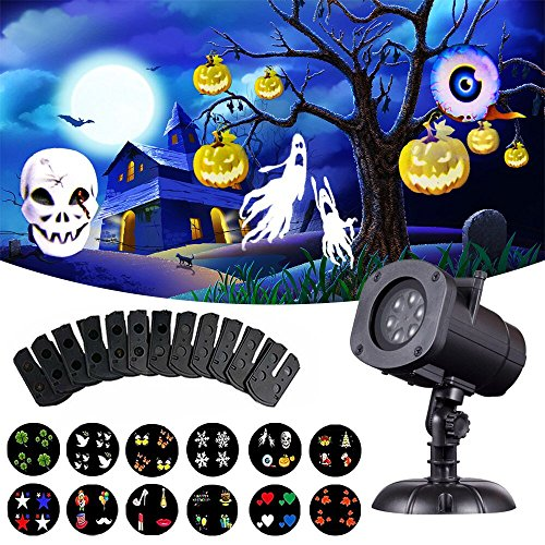 Halloween Projector Lights, Outdoor Christmas Projector Lights,LED Rotating Projection with Snowflakes Spotlight Waterproof Lights for Wedding Holiday Birthday Party Home Wall Decor Lamp