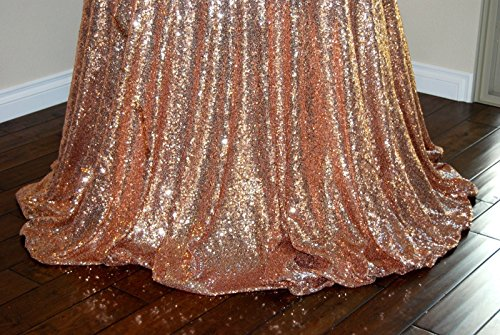 ShinyBeauty Rose Gold Round Sequin Tablecloth 70 Inch, Christmas Party Dessert Cake Table Table Cloth