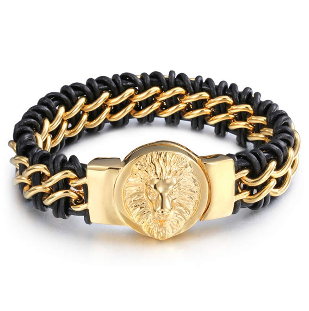 Zicue Stylish Charming Bracelet Exquisite Ornaments Men's Titanium Steel Lion Head gold Plated Bracelet Leather Hand Woven Chain Fashion Jewelry