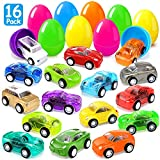 Joinart 16PCS Easter Eggs + 16PCS Pull Back Cars Toy Plastic Easter Egg Fillers Easter Basket Stuffers Mini Car Toys Surprise Eggs Easter Gifts Easter Party Favors for Kids Toddlers Goodie Bag Filler
