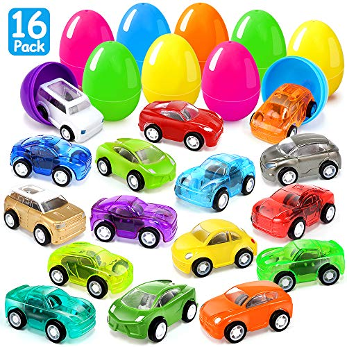 Joinart 16PCS Easter Eggs + 16PCS Pull Back Cars Toy Plastic Easter Egg Fillers Easter Basket Stuffers Mini Car Toys Surprise Eggs Easter Gifts Easter Party Favors for Kids Toddlers Goodie Bag Filler by Joinart (Image #7)