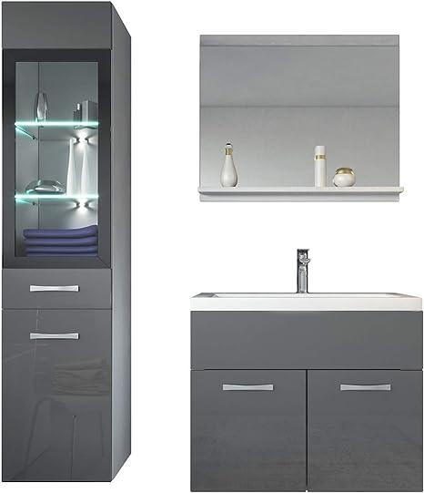 Badezimmer Unterschrank Hochglanz schwarz silber Badmöbel Badschrank Schrank Bad