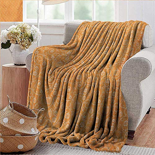 XavieraDoherty Travel Throw Blanket,Harvest,Pattern with Pumpkin Leaves and Swirls on Orange Backdrop Halloween Inspired,Orange White,Super Soft and Warm,Durable Throw Blanket 70