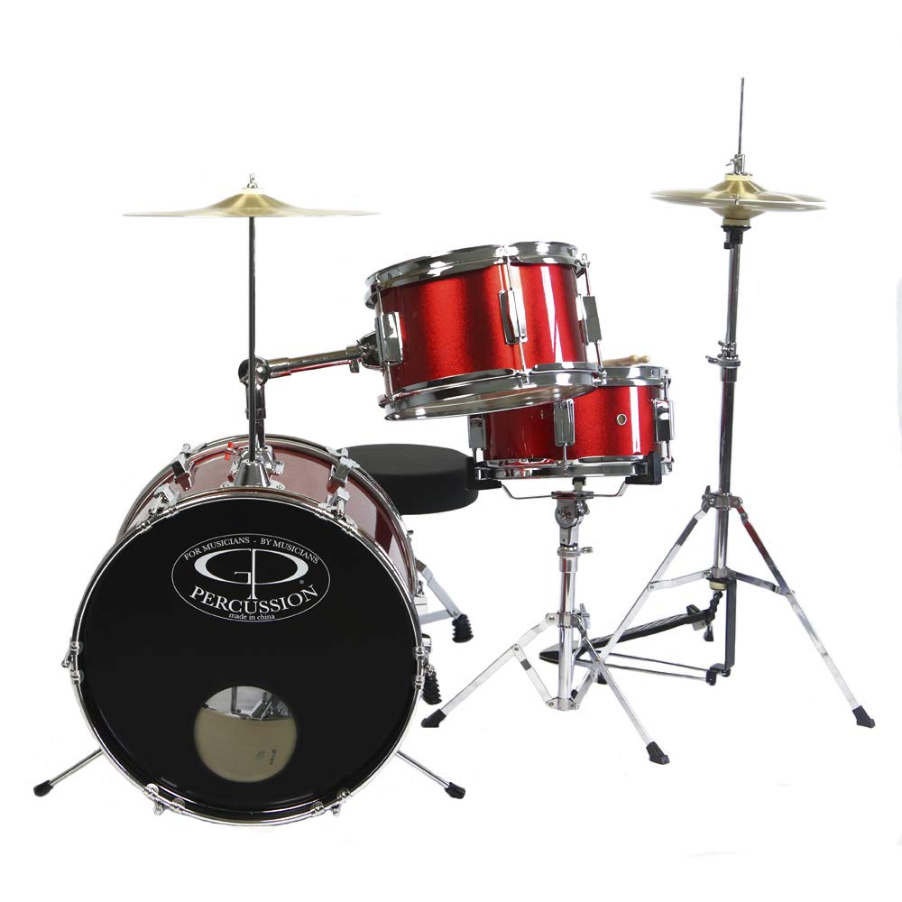 GP Percussion GP50RD Complete Junior Drum Set (Red, 3-Piece Set) by GP Percussion