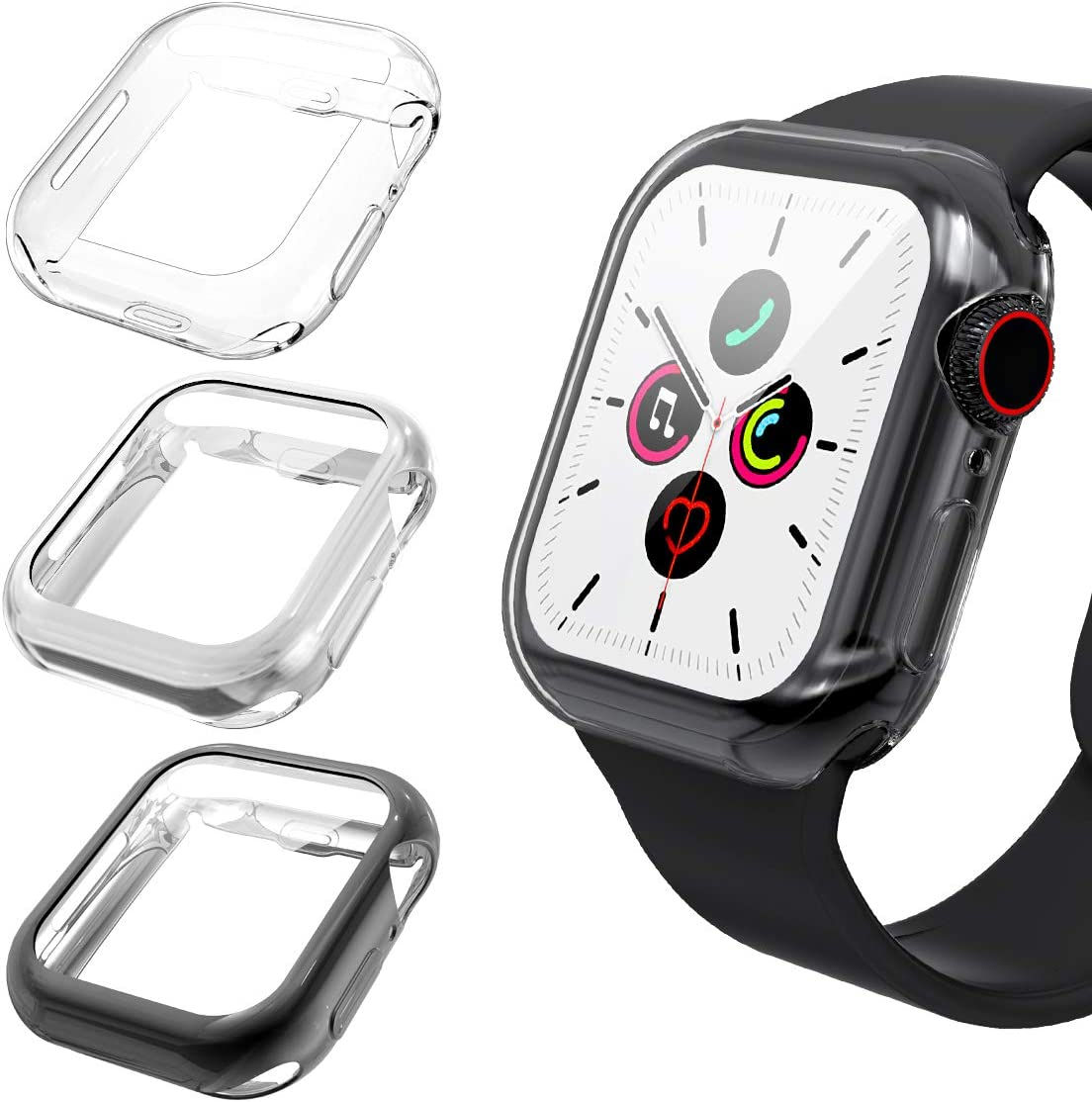 Goton 40mm Case Compatible for Apple Watch Case 40mm Series 5 Series 4 Screen Protector, (3 Color Packs) Ultra Thin iWatch 40mm Case Screen Protector with Full Protection Shockproof TPU Cover (40mm)
