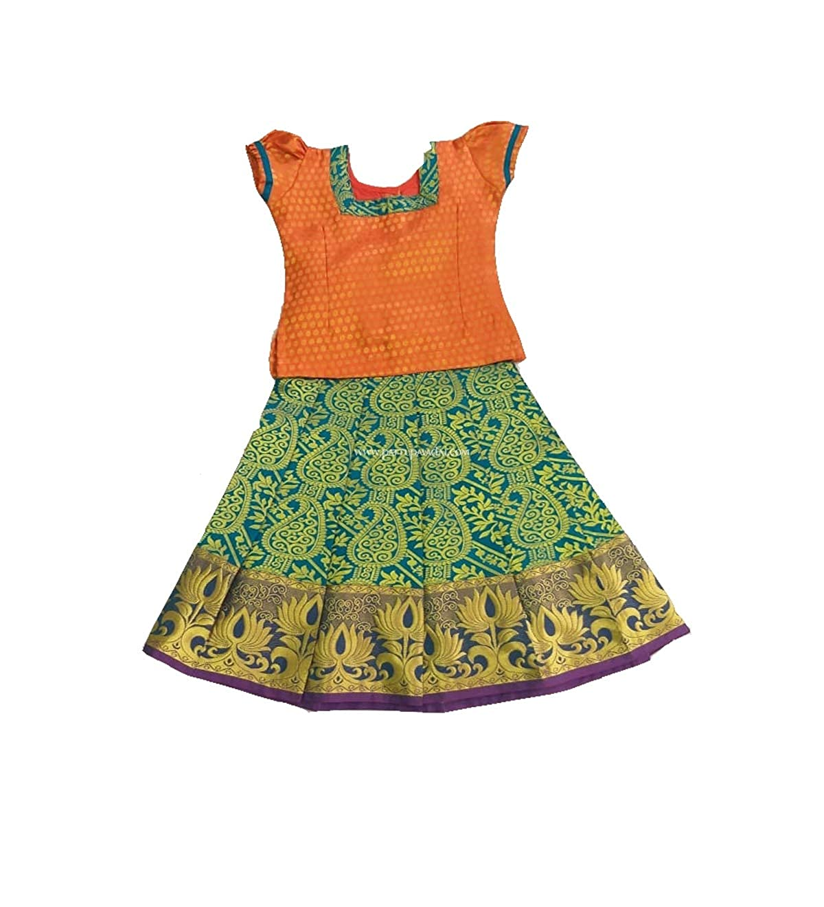 c8d52e4571cb Pattu Pavadai Silk Pavadai Orange and Rama Blue for Baby Girls and Kids:  Amazon.in: Clothing & Accessories