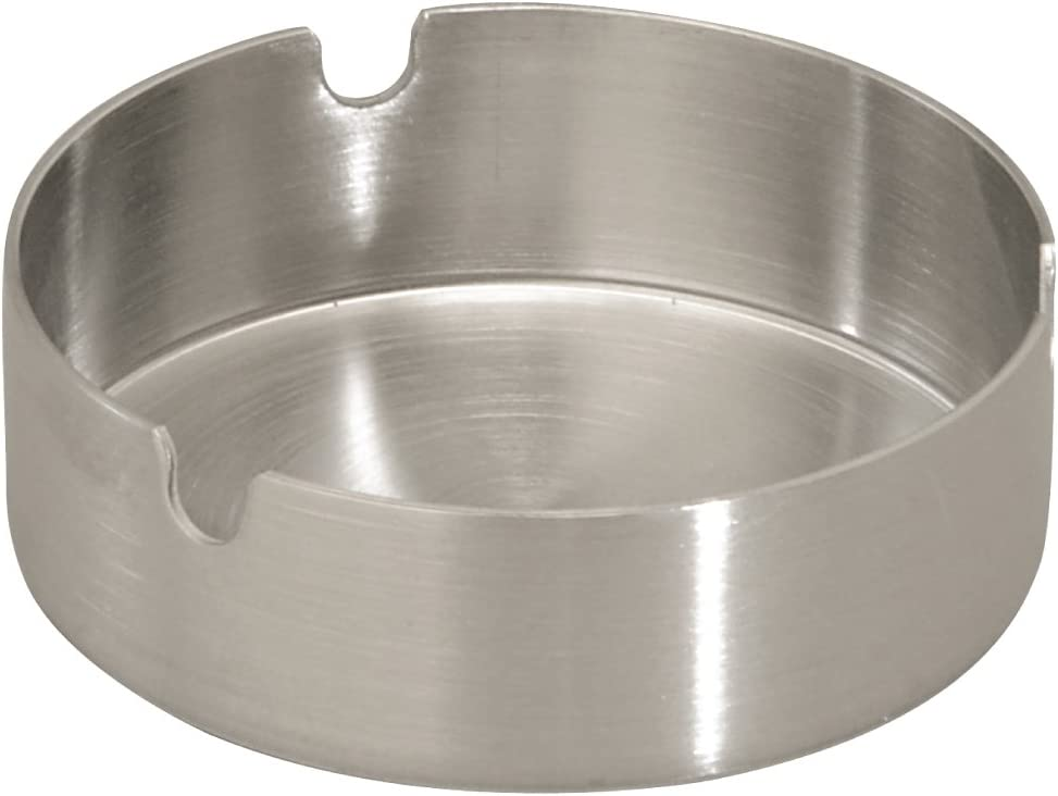 Thirsty Rhino Fuma, Round Stainless Steel Tabletop Cigarette Ashtray, Brushed Silver (Set of 1)