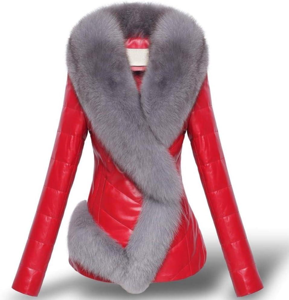 HGDS Chaqueta de plumón de Cuero, Abrigo de Invierno, imitación Femenina de Piel de Zorro, Chaqueta Corta Delgada, Piel sintética de Calidad, Abrigos cálidos para Mujer-Rojo_XXXL