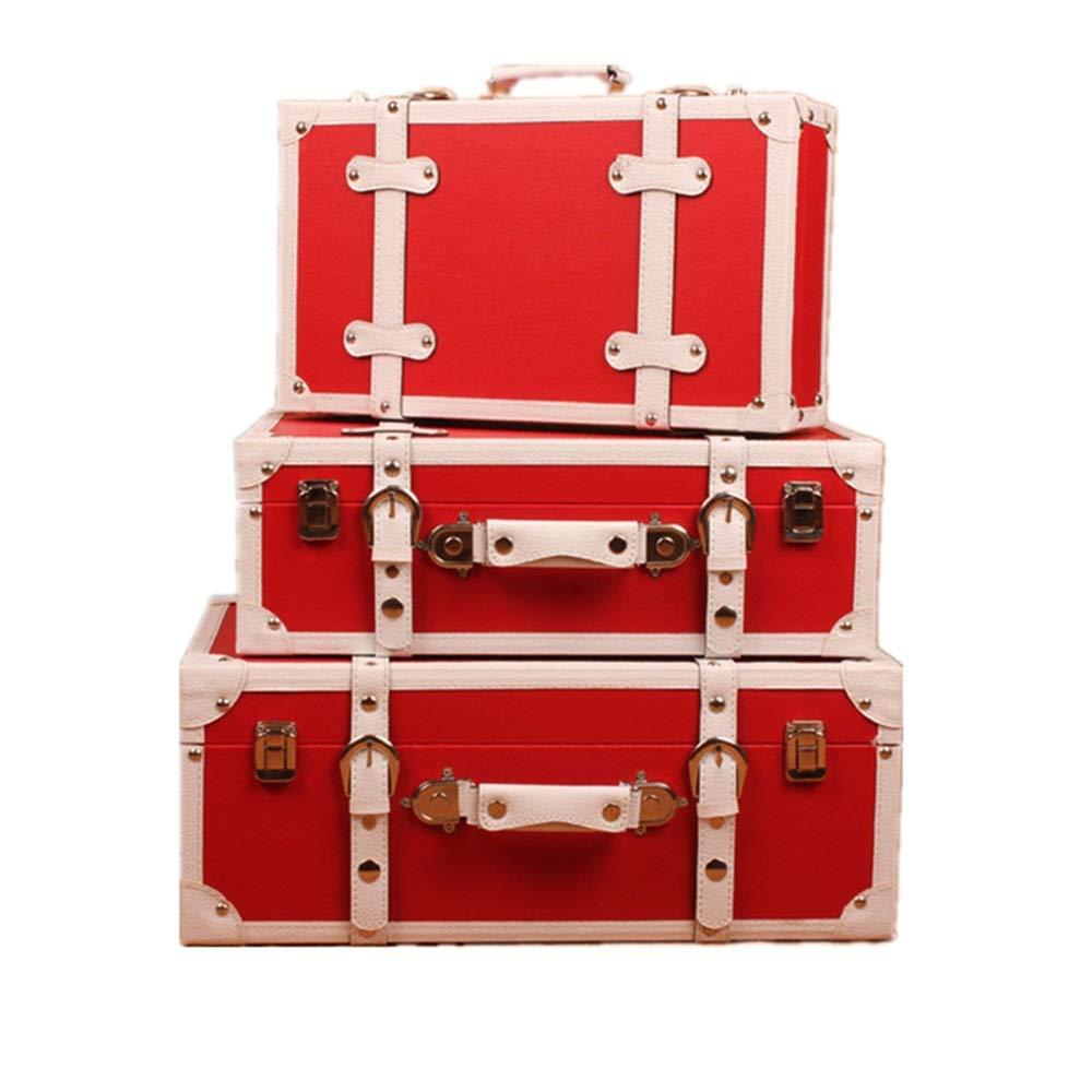 Antiker Retro Gepäck Koffer Set von 3 Navy Aufbewahrungskoffer Europäische Retro Koffer Fenster Dekoration Anzeige Dekoration Ornamente, for Schlafzimmer, Wohnzimmer Wohnkultur Handwerk Fotoshootings