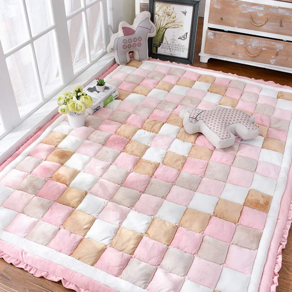 Love Home Tatami-Matratze, Fußmatte, französischer Samt, japanische Futon, faltbar, rutschfest, multifunktional, Bodenmatratze, Schlafmatratze für den Boden, Polyester, Rose, 150x200cm(59x79inch)