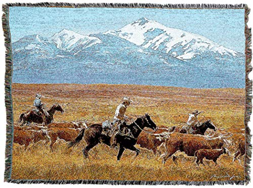 - Pure Country Weavers | Homeward Bound Cowboy Herding Woven Blanket | Western Ranch Decor Throw with Fringe Cotton USA 72x54