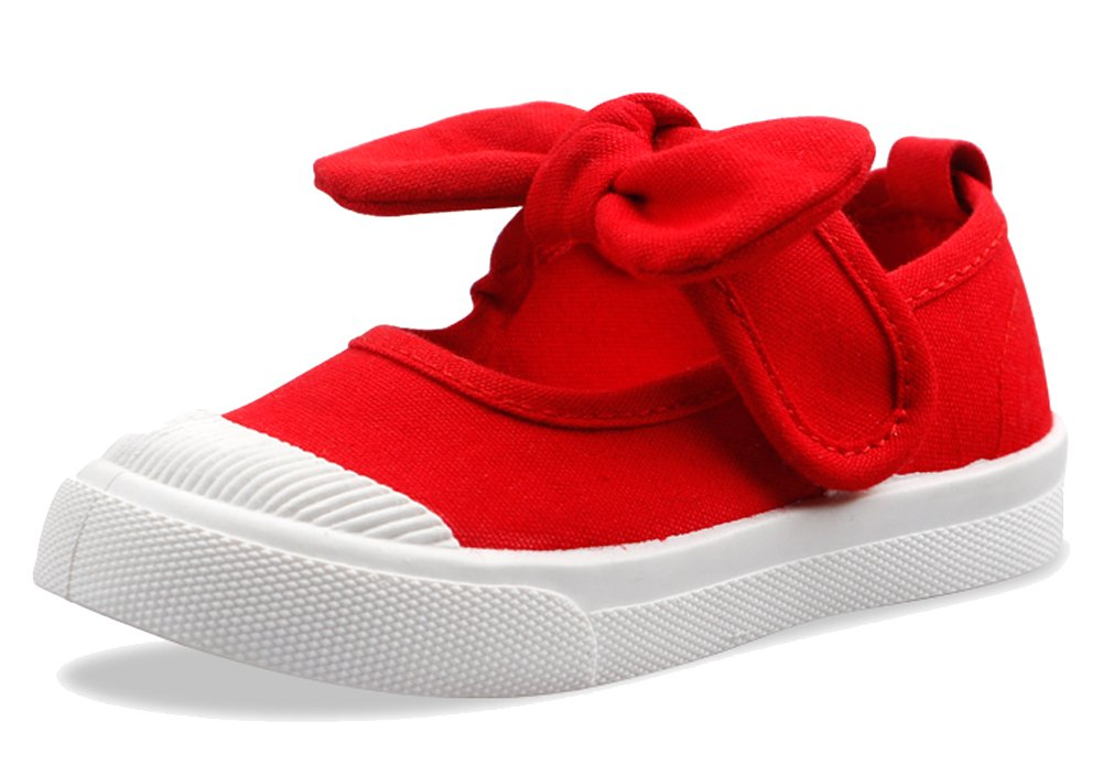 iDuoDuo Girls Cute Bowknot Soft Sole Comfortable and Breathable Canvas Shoes Flats (Toddler/Little Kid)
