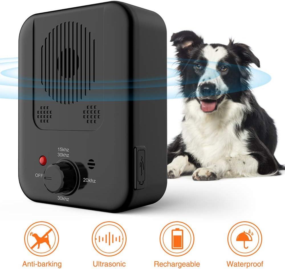ULTPEAK Actualice el Dispositivo Ultras/ónico Antiladridos Dispositivo de Control de Ladridos Recargable Tap/ón de Ladridos a Prueba de Ladridos Impermeable para Perros con 3 Niveles Ajustables