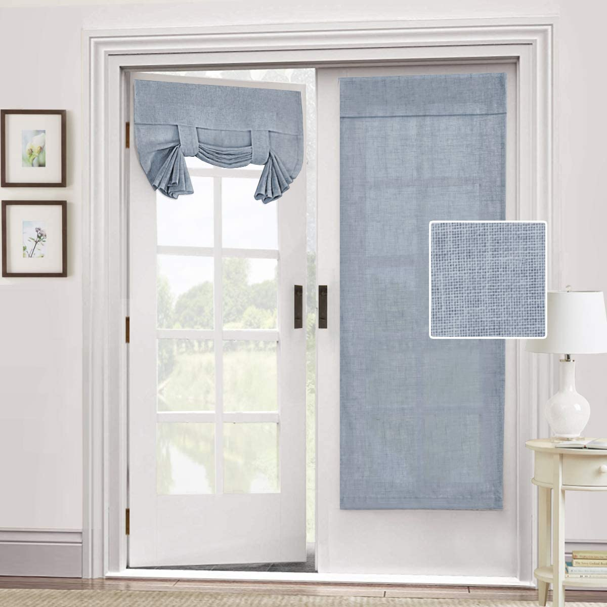 Natural Linen Blended Door Curtain - Privacy French Door Curtain Light Filgtering Tricia Window Door Curtain for Patio Door Sidelight Glass Door Blind Tie Up Shade, 26 x 68 inches, 1 Panel, Stone Blue