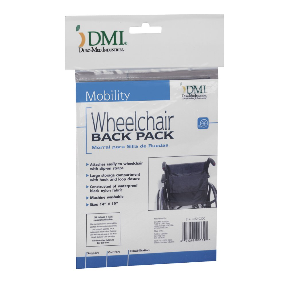 Wheelchair Bag by Duro-Med - Storage Bag for Items & Accessories - Travel Storage Tote & Backpack w/Easy Access Pouch & Pockets, Black