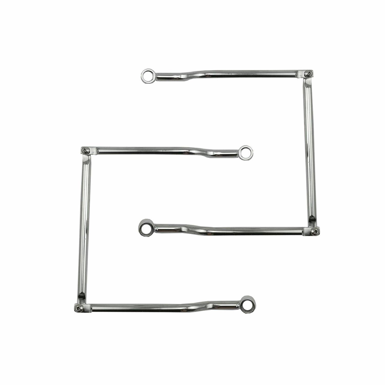 Silver Anzene Soportes de barras de soporte de alforja para HARLEY HONDA SUZUKI YAMAHA KAWASAKI TRIUMPH