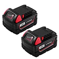 M18 5.0Ah Rplace for Milwaukee 18V Battery XC Red Lithium M18B 48-11-1820 48-11-1850 48-11-1828 48-11-1815 Cordless Power Tool Batteries(2 Packs)