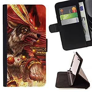 Momo Phone Case / Flip Funda de Cuero Case Cover - Killer Wolf Warrior Blood - Apple Iphone 6