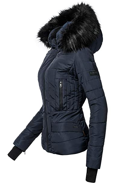 Navahoo Adele Chaqueta de Invierno para Mujer con Capucha de Pelo sintético Negro 13 Colores XS-XXL