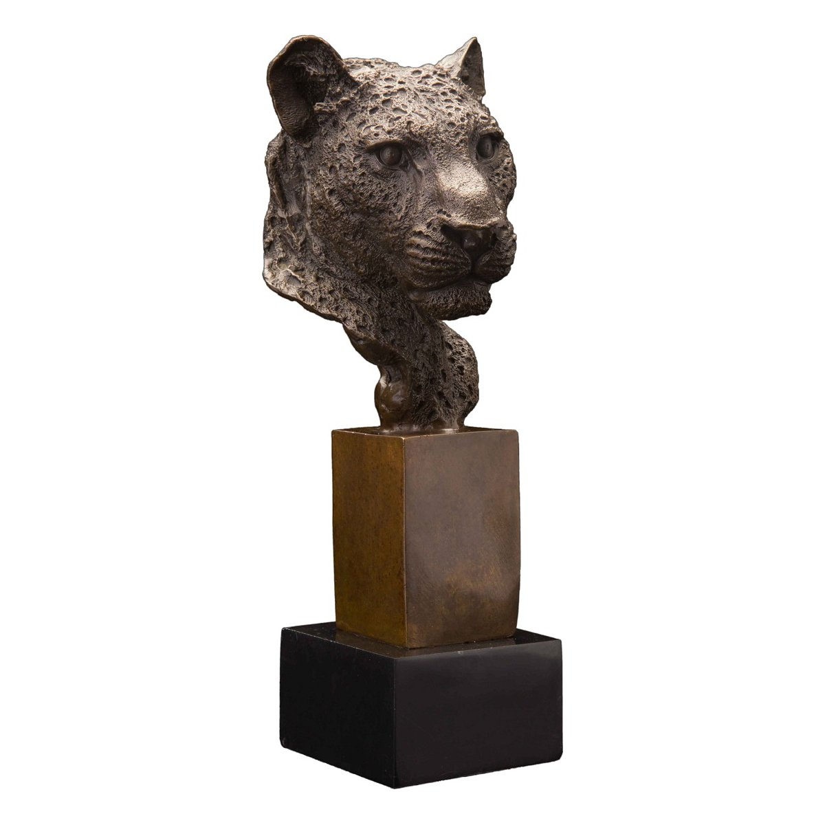 Bronze Panther Head Sculpture Wildlife Animal Leopard Statue Figurine Bronze Home Decor