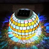 SOLMORE Solar Lights, LED Color Changing Solar Table Lights Mosaic Glass Ball Solar Outdoor Garden Lights Solar Night Lights Waterproof Home Yard Patio Decorations