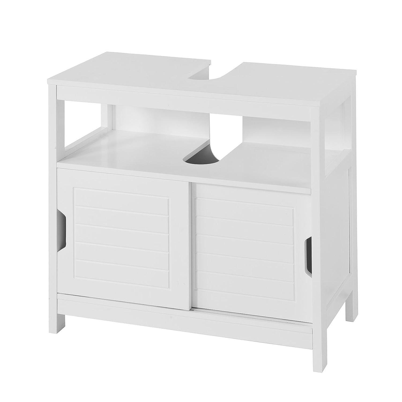 SoBuy FRG128 W Waschbeckenunterschrank Badmöbel Badschrank Waschtisch  Unterschrank Weiß