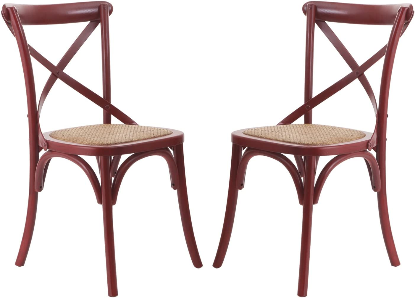 DecentHome Vintage Wood and Metal French Bistro Antique Dining Side Chair Red 2