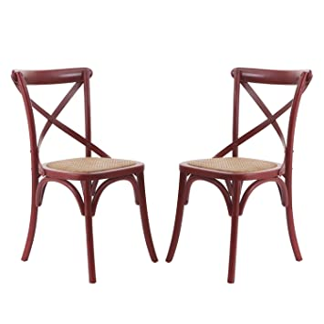 Joveco Elm Wood Dining Chair With Woven Rattan Seat, Deep Red, Modern  Vintage Style