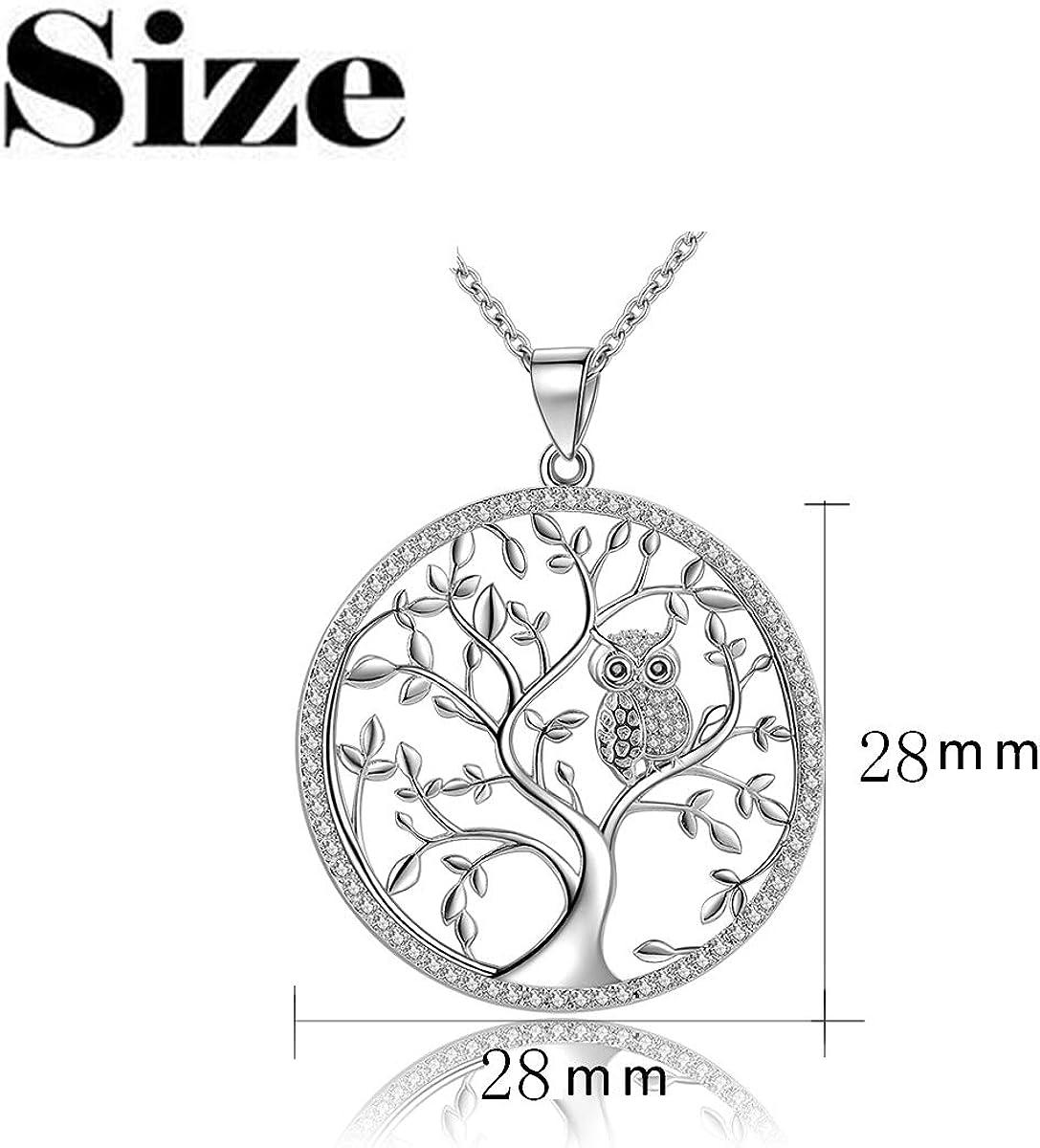 Art Deco Tree and Bird Nature Glass Pendant Silver Handmade Art Necklace Gift Present