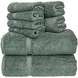 "Luxury Hotel & Spa Bath Towel Set 100% Genuine Turkish Cotton Towel Bundle Total 8-Piece Set, 2 Bath Towel 27""X54"" , 2 Hand Towel 16""X30"" , 4 Washcloth 13""x13"", Set of 8 (Gray)"