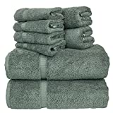 Luxury Hotel & Spa Bath Towel Set Turkish Cotton Towel Bundle Total 8-Piece...