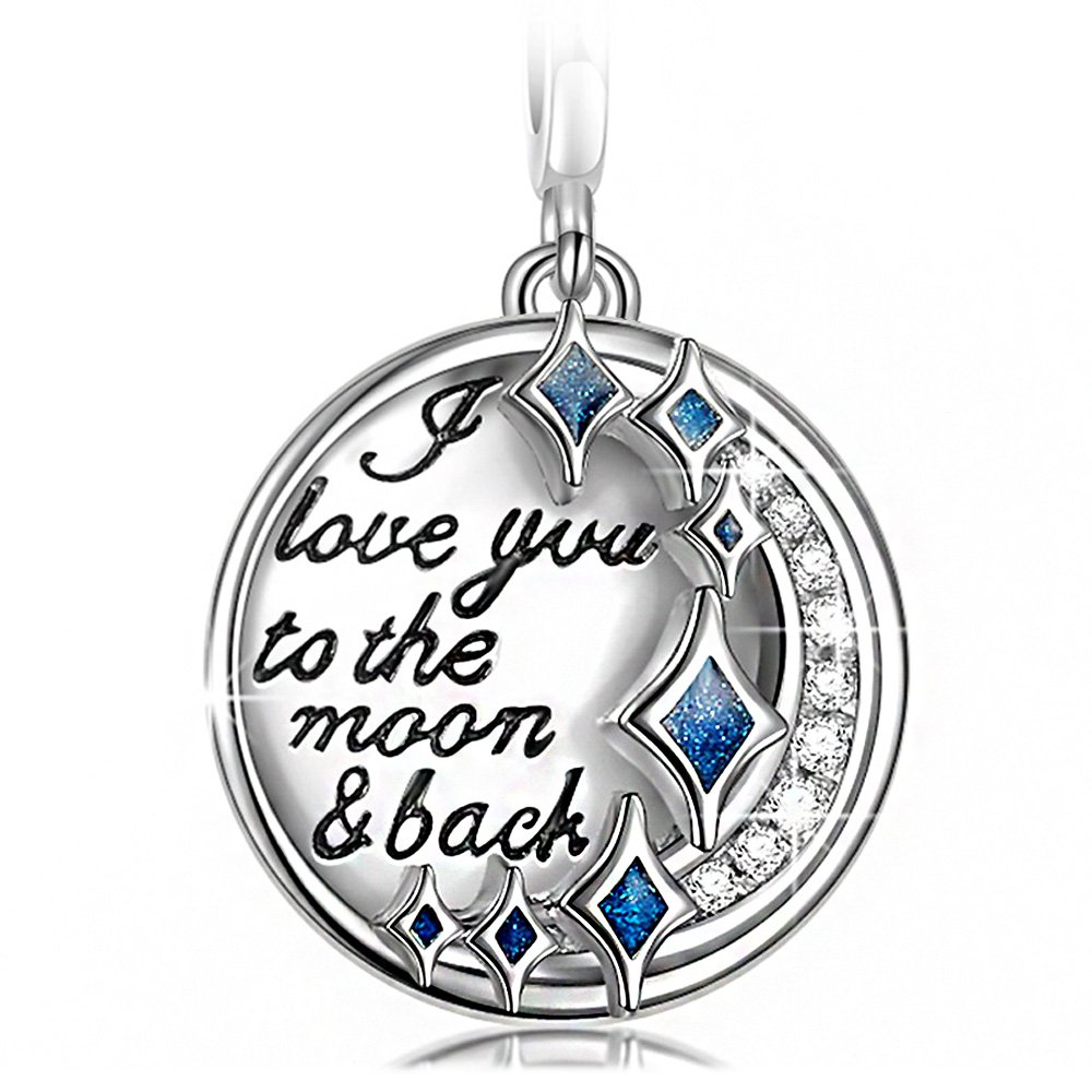 NINAQUEEN - I Love You to the Moon and Back - 925 Sterling Silver Charms Nickel-free oPOoDn4h