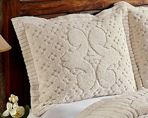 Better Trends / Pan Overseas Ashton 430 GSM Heavy Weight 100-Percent Cotton Chenille Tufted Sham, Standard, Ivory