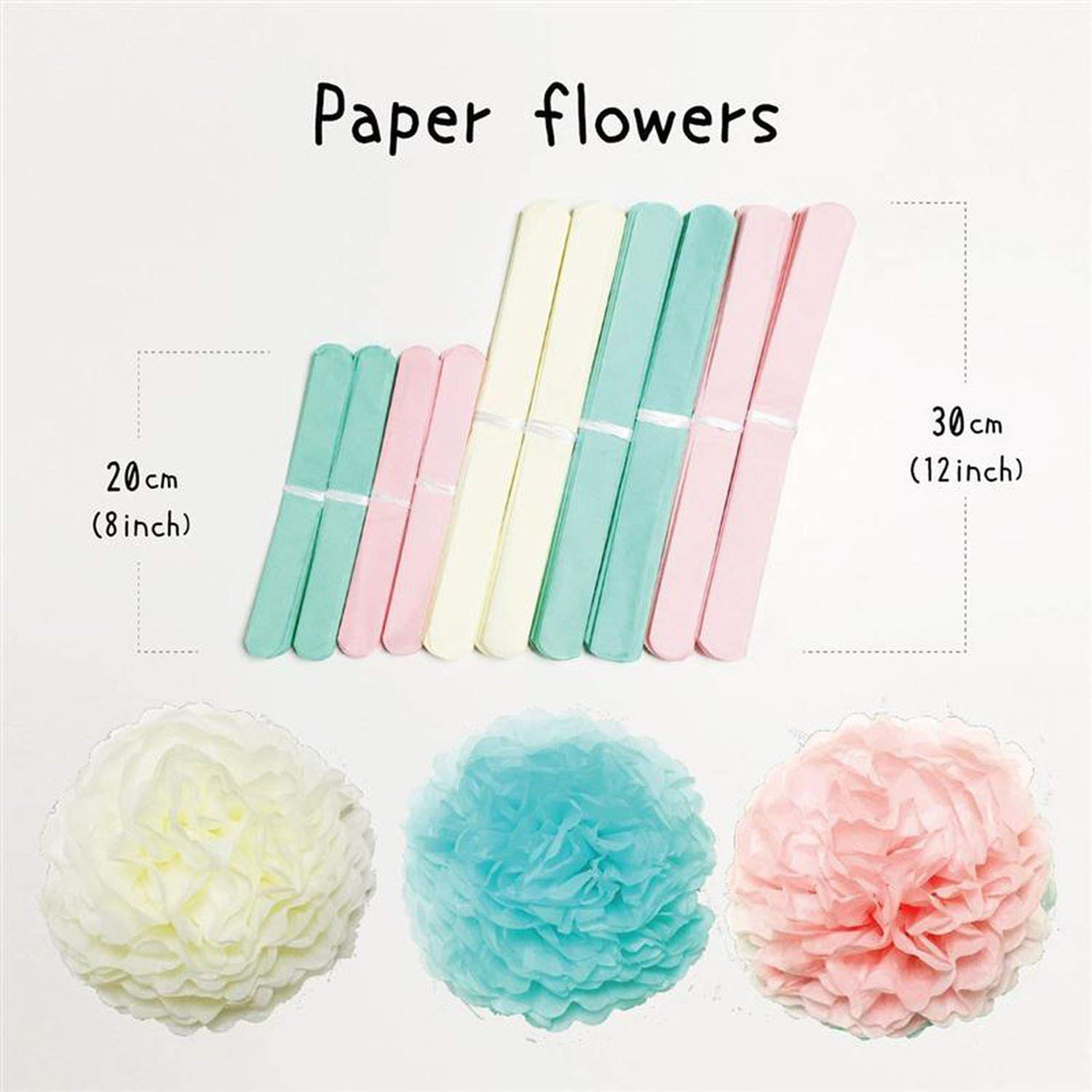 51 Pcs Paper Flowers Tassels DIY Paper Balloons Kit for Birthday Wedding Party Decoration (Pink Series),Purple by Hi Monkeys-Paper Party tassels Decorations (Image #6)