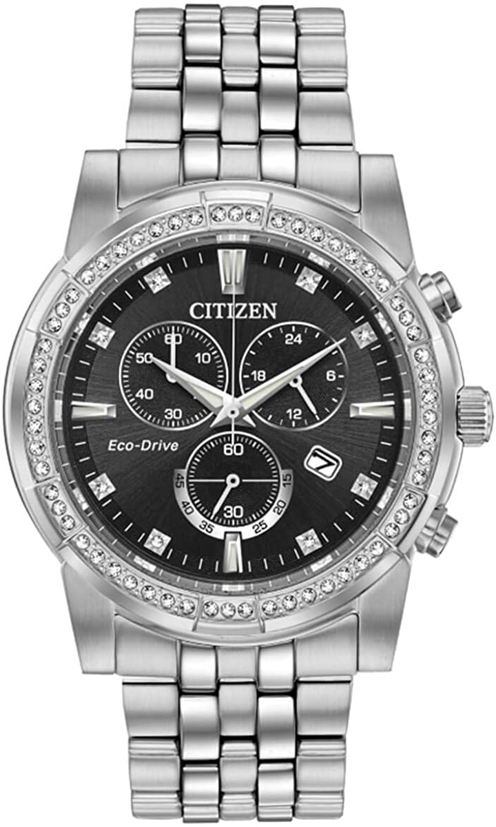 Citizen Eco-Drive Corso Reloj de pulsera para hombre con esfera negra con cristales Swarovski AT2450-58E
