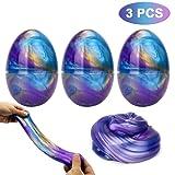 Makone Galaxy Fluffy Slime, 3pcs Colorful Soft Egg