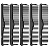 Pocket Combs | 5 Pack | Professional 5 Inch Black Carbon Fiber Hair Comb | Fine And Wide Tooth Travel Comb Set | Anti Static Chemical and Heat Resistant | Mens Beard And Styling Haircomb Supplies | Ba