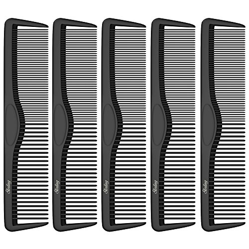 Pocket Combs | 5 Pack | Professional 5 Inch Black Carbon Fiber Hair Comb | Fine And Wide Tooth Travel Comb Set | Anti Static Chemical and Heat Resistant | Mens Beard And Styling Haircomb Supplies | Ba by Sterling Beauty Tools