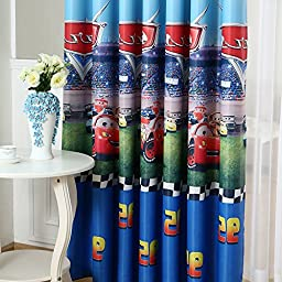 WPKIRA Window Treatment Kids Room Printed Cartoon Cars Grommet/Eyelet Top Room Darkening Thermal Insulated Blackout Curtains Panel Drapes for Boy\'s Bedroom , 1 Panel Blue W40 x L84 inch