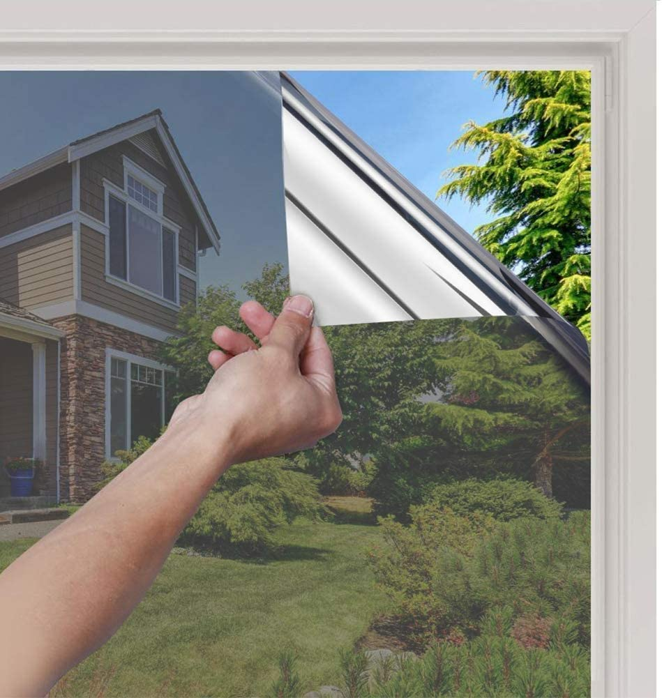 LOKHOM One Way Mirror Window Film, Non-Adhesive Window Stickers Privacy, Anti-UV Heat Control, Daytime Privacy Film, Reflective Static Cling Window Tint for Home/Office (Silver, 17.7x78.7 Inches)