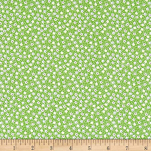 Flower Print Fabrics - Santee Print Works Vintage Miniatures Flowers Fabric, Green/White, Fabric By The Yard
