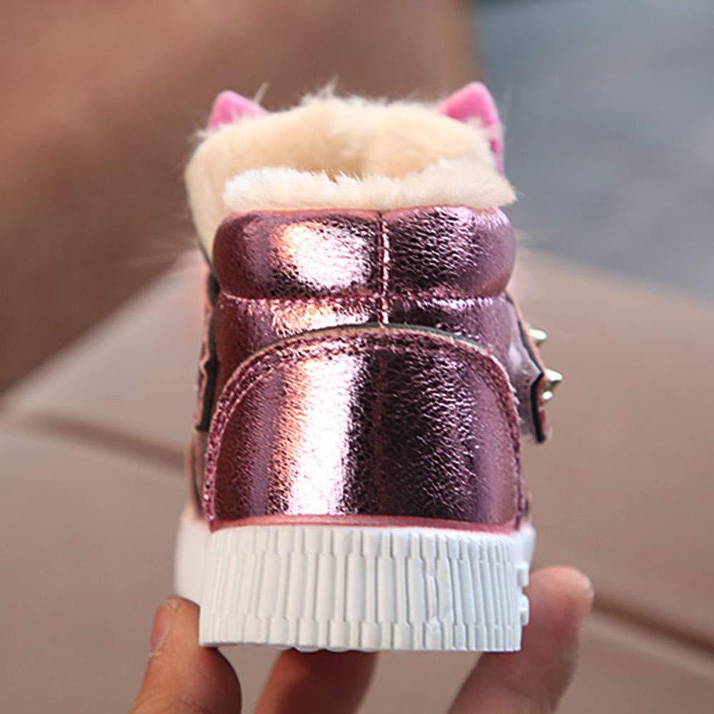 Winter Warm Sneaker for Infant 1-6 Years Fur Prewalker/First Walker Pearl Diamond Rabbit Ear Shoes