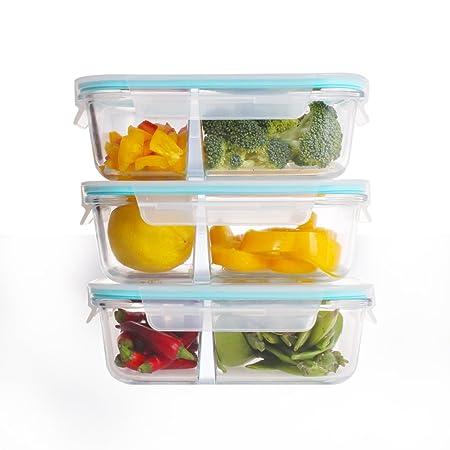 Cristal comida Prep recipientes – sin BPA recipiente para ...
