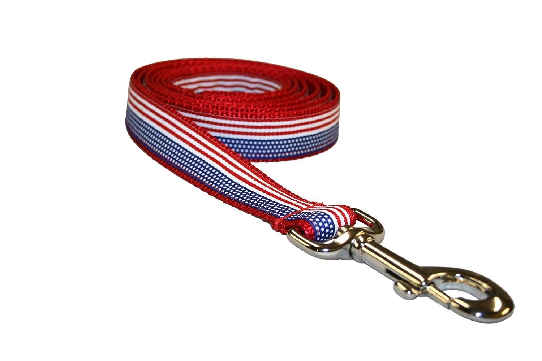 Sassy Dog Wear X-Small American Flag Dog Leash, 1/2-Inch Wide, 4-Feet Length A001-LXS