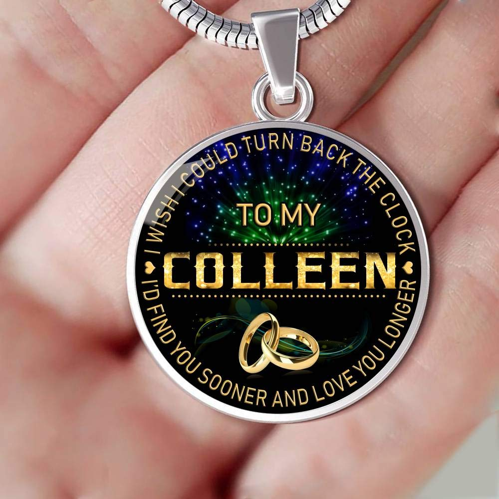 Funnyd Charm Necklace Jewelry Gift for Women HusbandAndWife Gifts Necklace for Mom and Daughter to My Colleen I Wish I Could Turn Back Clock I Will Find You Sooner 18K Gold Plated