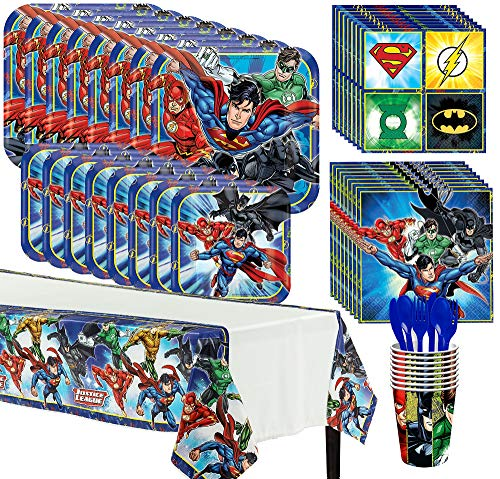 Party City Justice League Complete Tableware Kit for 8 Guests, 81 Pieces, Includes Plates, Napkins, Cups, and Utensils -