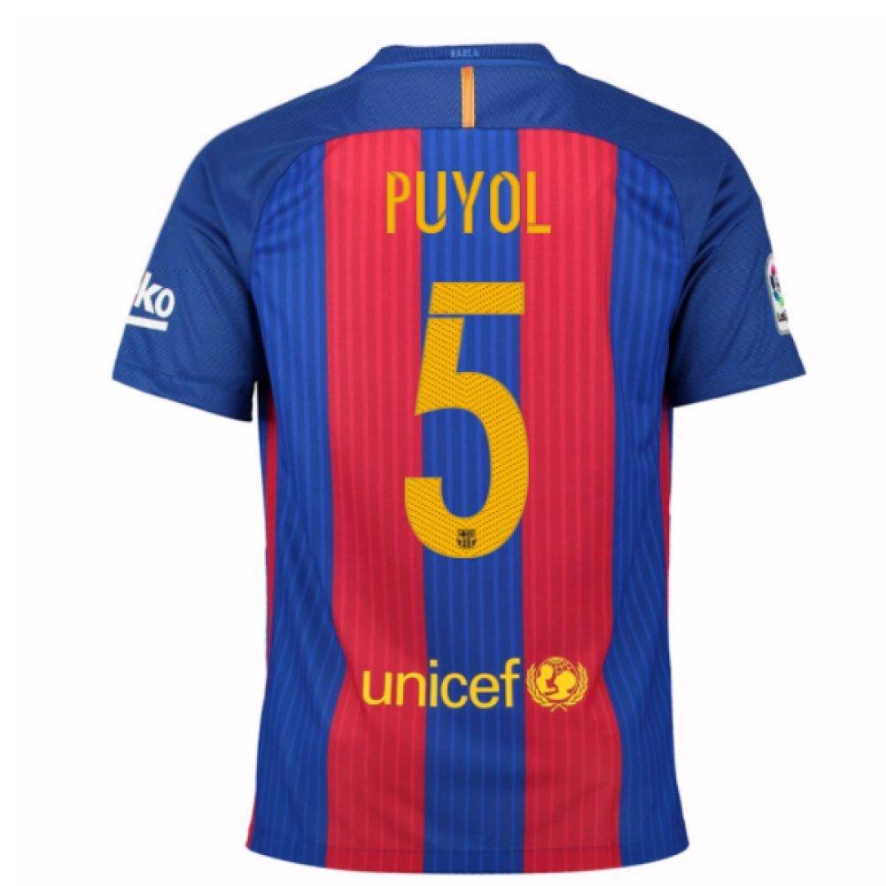 2016-17 Barcelona Home Football Soccer T-Shirt Trikot (Carles Puyol 5) - Kids