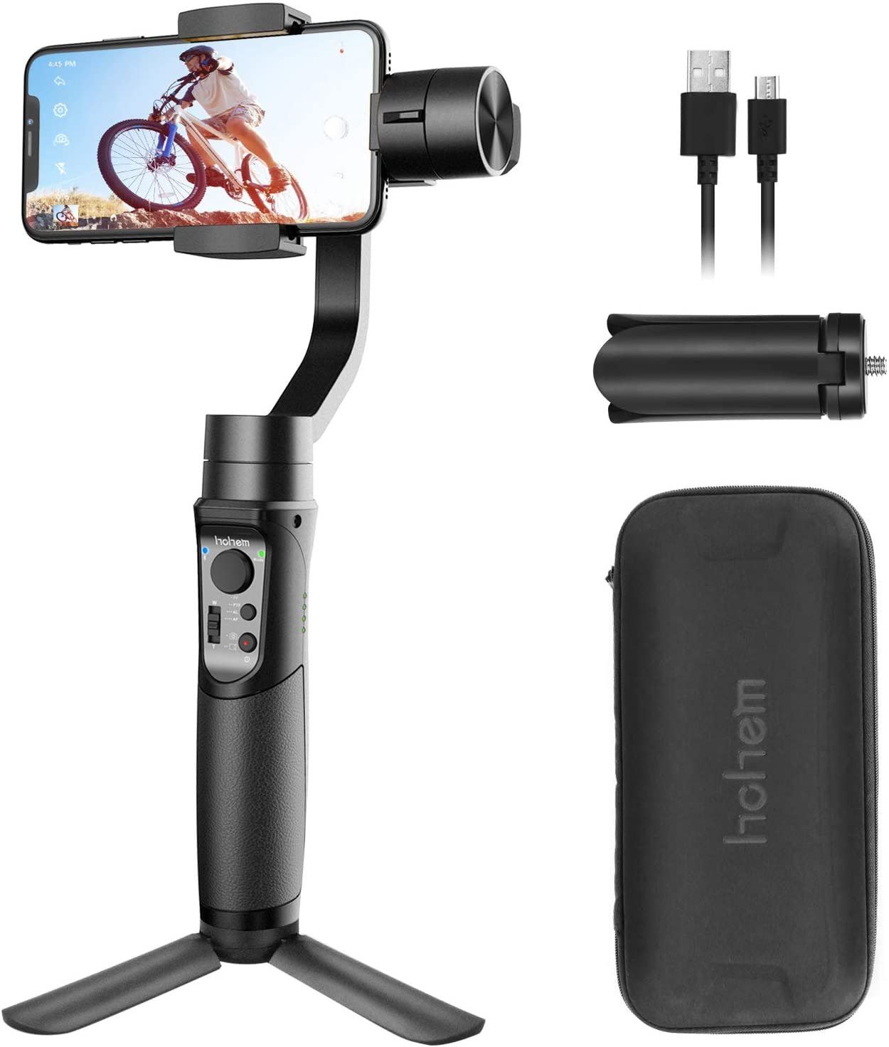 Smartphone Gimbal Stabilizer 3-Axis Handheld Phone Gimble with Face Tracking for Android Smartphone for iPhone 11 Pro/XS/XS MAX/XR/8P/8 for Galaxy S10/S9 (Hohem iSteady Mobile Plus: 2019 New Model)