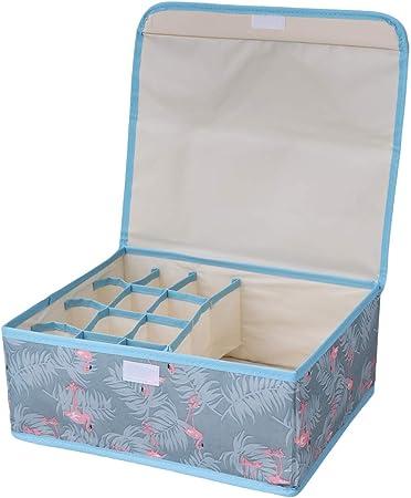 TOPBATHY Organizador de Ropa Interior de Armario con Tapa Caja de Almacenamiento de Armario Impermeable con Organizador de Armario Plegable de 13 Rejillas (Flamingo): Amazon.es: Hogar